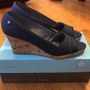 Navy blue cork wedge sandals, sz 8!